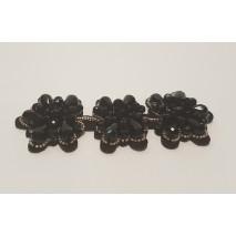 Aplique pedreria rectangular de rocalla 12 x4 cm negro