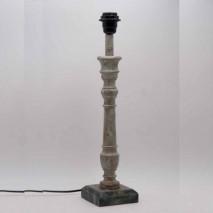 Base lámpara peana cuadrada estucado bicolor verde francés 11,5x11,5x49,5 cm