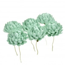 Bolsa de 6 unidades Flor crisantemo 3,5 cm verde agua