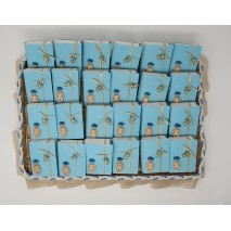 Presentación 24 unidades montaje bebe envase libro + nino plano + chupete tetilla celeste 6,5 x 8,5 x 2 cm
