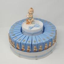 Presentacion 30 montajes envase porcion tarta azul + bebe plano + chupete 7 x 8 x 3 cm