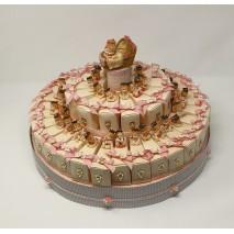 Presentación 35 montajes envase porción tarta beig + bebe gradu + chupete