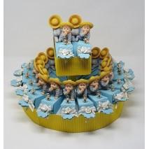 Presentación 38 Montaje envase cucurucho ondulado + bebe a gatas + chupete tetilla 8 x 15 x 5 cm azul