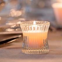 Portavela cristal rayado c/vela relleno redondo d.6 cm alt 6 cm