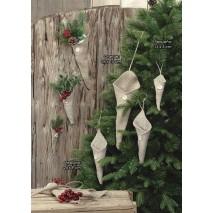 Navidad detalle cono arpillera c/colgador 15 cm