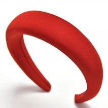 Diadema acolchada forrada de saten. Ancho de 4cm. rojo
