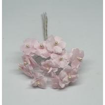 Pomito flor mini tela flor de perla d.1.8 cm x 12 rosa