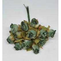 Pomito flor mini tela capullo d.1,5 cm x 12 turquesa +