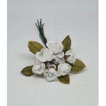 Pomito flor mini tela rosita d.1,5 cm c/ hoja x 6 blanca