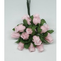 Pomito flor mini tela capullo d.1,5 cm x 12 rosa