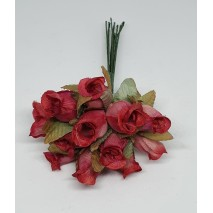Pomito flor mini tela capullo d.1,5 cm x 12 grosella