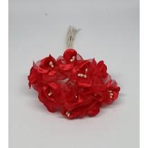 Pomito flor mini tela flor perla d.2,6 cm x 12 rojo