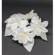 Pomito flor mini tela ramo x 4 marfil