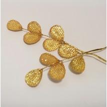 Bolsa hojas imitación cristal 6 x 3,5 cm (aplicación bohemia) dorada 2 uni