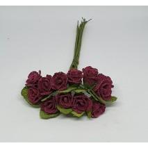 Pomito flor mini rosa saco arpillera d.1,5 cm x 12 burdeos
