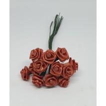 Pomito flor mini tela rosita raso d.1,2 cm x 12 castaño
