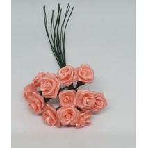 Pomito flor mini tela rosita raso d.1,2 cm x 12 coral