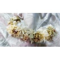 Corona abierta de niña línea Dalila de 35 cm de flores preservadas