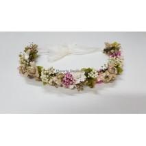 Corona abierta de niña línea Claudia de 35 cm flores preservadas