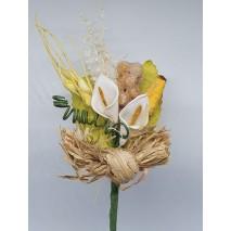 Prendido flor mini foam cala 1 x 2 cm c/maiz beig