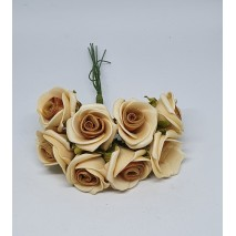 Pomito flor mini foam rosa c/raso x 8 marrón