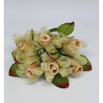 Pomito flor mini organza rosa raso d.2,2 cm x 6 dorado