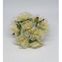 Pomito flor mini organza margarita d.3,5 cm x 8 beige