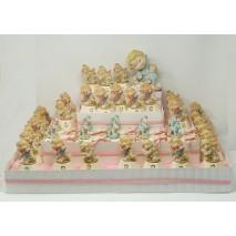 Presentación  bebe 40 montaje niña c/caballo rosa+ caja hexagonal y caballito c/caja