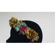 Corona abierta de niña línea Paula de 35 cm de flores preservadas