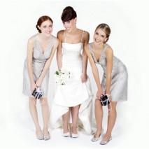 Regalo bailarinas pegables para bodas en bolsa de regalo plata pequeña