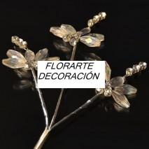 Rama imitacion cristal 3 libelulas 3,5 x 3,5 cm transparente