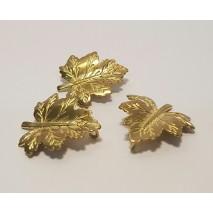 Bolsa hoja metal 2,5 x 2,3 cm dorada (aplicacion livana) 3 uni