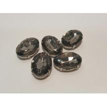 Bolsa aplicacion oval cristal acrilico sobre latón  2,5 x 1,8 cm gris 5 uni