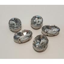 Bolsa aplicacion oval cristal acrilico sobre latón  2,5 x 1,8 cm transparente 5 uni