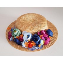Sombrero canotier paja copa 6 cm ala 6,5-7 cm natural decorado