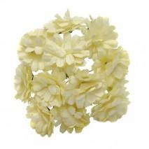 Pomito flor mini papel zinnia 3,5 cm x 12 beige dorado
