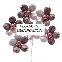 Pomito flor mini pedrería imi x 6 flores berenjena/malva empolvado