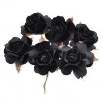 Pomito flor mini papel rosa 3,5 cm x 6 negra