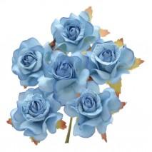 Pomito flor mini papel rosa 3,5 cm x 6 azul azul cielo