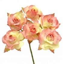 Pomito flor mini papel rosa 3,5 cm x 6 marfil/coral