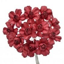 Pomito flor mini papel rosa abierta 2,5 cm x 12 granate