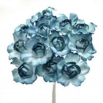 Pomito flor mini papel rosa abierta 2,5 cm x 12 azul