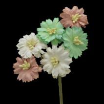 Pomito flor mini papel margaritas 2,3 cm x 6 multicolor naturales