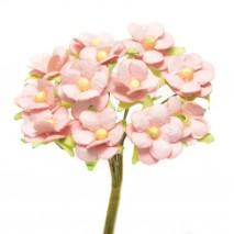 Pomito flor mini papel margaritas 2 cm x 12 rosa empolvado