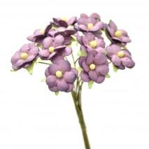 Pomito flor mini papel margaritas 2 cm x 12 morado empolvado