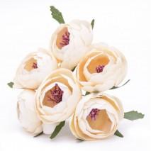 Pomito flor mini tela ranunculus 4 cm x 6 fl champagne