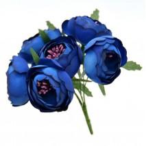 Pomito flor mini tela ranunculus 4 cm x 6 fl azulina
