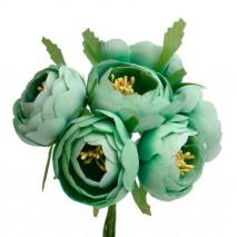 Pomito flor mini tela ranunculus 4 cm x 6 fl verde claro