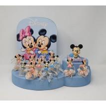 Presentación 18 montaje regalos bautizo Minnie y Micky c/base para peladillas 8 x 4 cm.