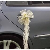 Lazos de coche sinamay 70 mm escarapela c/flores y rafia